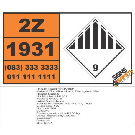 UN1931 Zinc dithionite or Zinc hydrosulfite, Other (9), Hazchem Placard