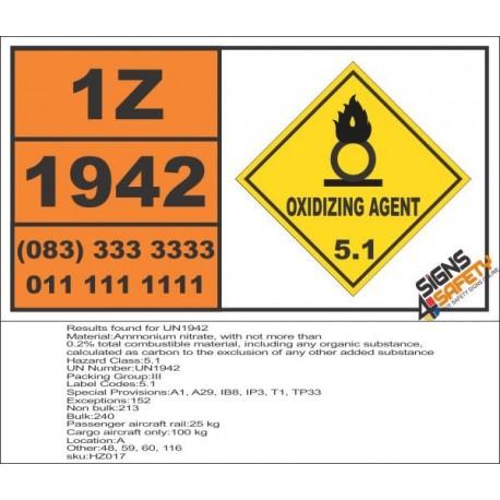 UN1942 Ammonium nitrate, Oxidizing Agent (5), Hazchem Placard