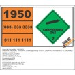 UN1950 Aerosols, corrosive, Packing Group II or III, (each not exceeding 1 L capacity), Compressed Gas (2), Hazchem Placard