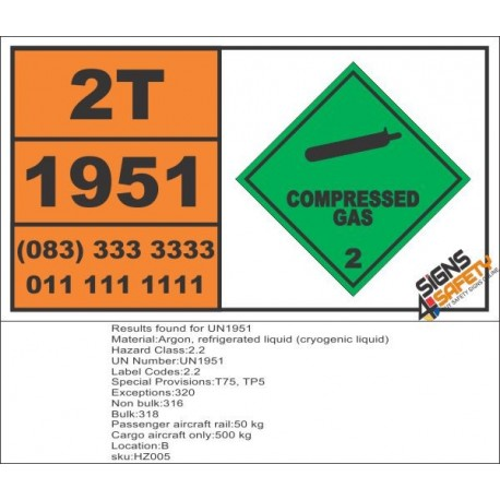 UN1951 Argon, refrigerated liquid (cryogenic liquid), Compressed Gas (2), Hazchem Placard