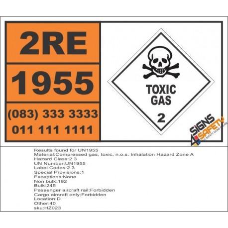 UN1955 Compressed gas, toxic, n.o.s. Inhalation Hazard Zone A, Toxic Gas (2), Hazchem Placard