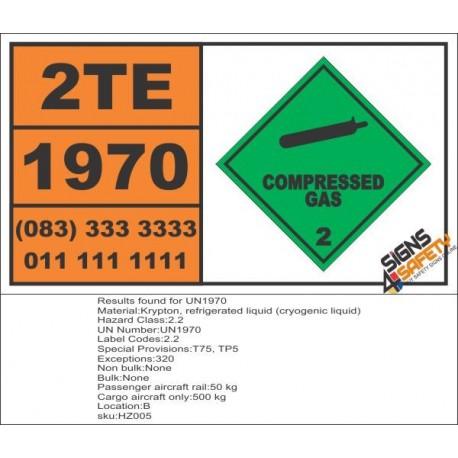 UN1970 Krypton, refrigerated liquid (cryogenic liquid), Compressed Gas (2), Hazchem Placard