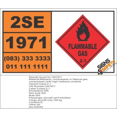 UN1971 Methane, compressed or Natural gas, compressed (with high methane content), Flammable Gas (2), Hazchem Placard