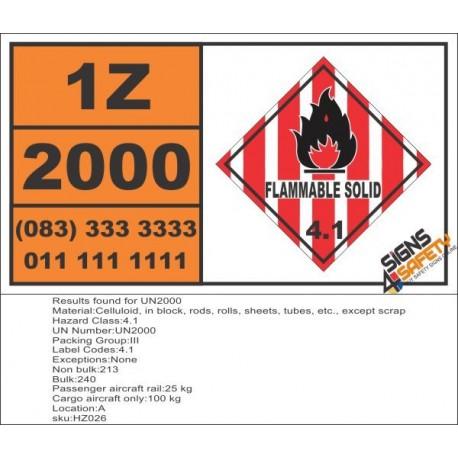 UN2000 Celluloid, in block, rods, rolls, sheets, tubes, etc., except scrap, Flammable Solid (4), Hazchem Placard