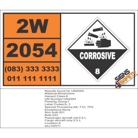 UN2054 Morpholine, Corrosive (8), Hazchem Placard