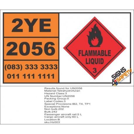 UN2056 Tetrahydrofuran, Flammable Liquid (3), Hazchem Placard