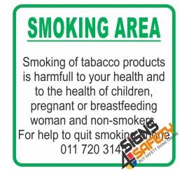 (NS21) Smoking Area Stop Smoking Hotline Number Sign