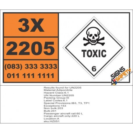 UN2205 Adiponitrile, Toxic (6), Hazchem Placard