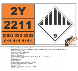 UN2211 Polymeric beads, expandable, evolving flammable vapor, Other (9), Hazchem Placard