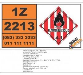 UN2213 Paraformaldehyde, Spontaneous Combustible (4), Hazchem Placard