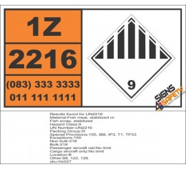 UN2216 Fish meal, stabilized or Fish scrap, stabilized, Other (9), Hazchem Placard