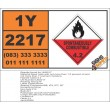 UN2217 Seed cake with not more than 1.5 percent oil, Spontaneous Combustible (4), Hazchem Placard