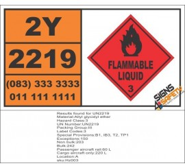 UN2219 Allyl glycidyl ether, Flammable Liquid (3), Hazchem Placard