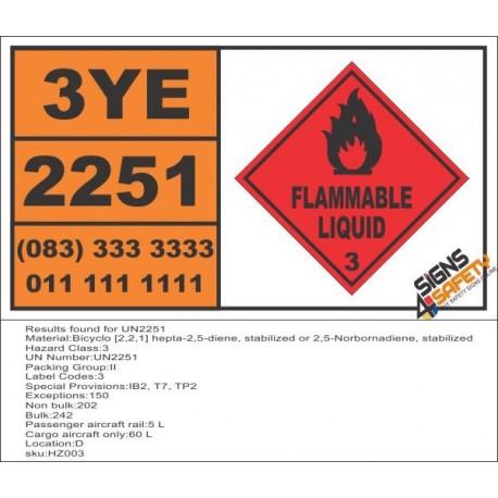 UN2251 Bicyclo [2,2,1] hepta-2,5-diene, stabilized or 2,5-Norbornadiene, stabilized, Flammable Liquid (3), Hazchem Placard