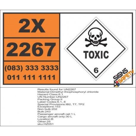 UN2267 Dimethyl thiophosphoryl chloride, Toxic (6), Hazchem Placard