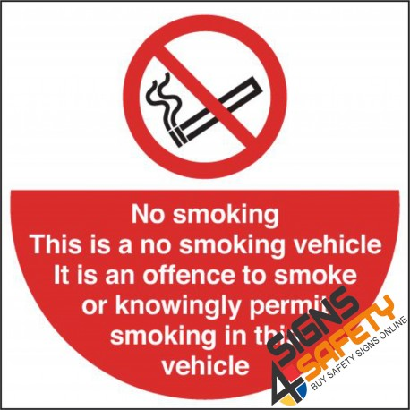 (NS35) No Smoking In This Vehicle Sign