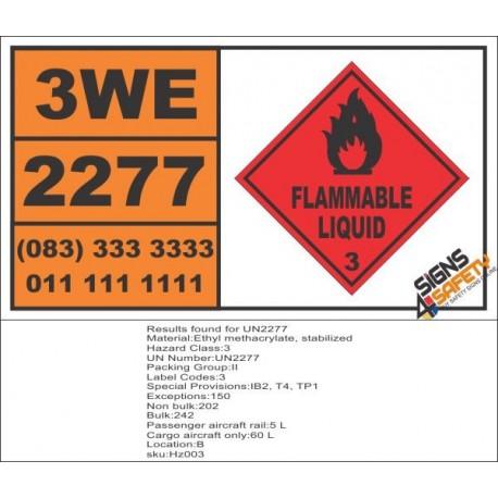 UN2277 Ethyl methacrylate, stabilized, Flammable Liquid (3), Hazchem Placard
