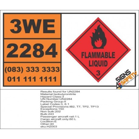 UN2284 Isobutyronitrile, Flammable Liquid (3), Hazchem Placard