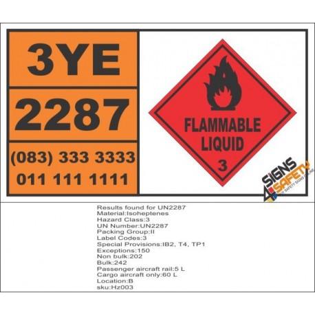 UN2287 Isoheptenes, Flammable Liquid (3), Hazchem Placard