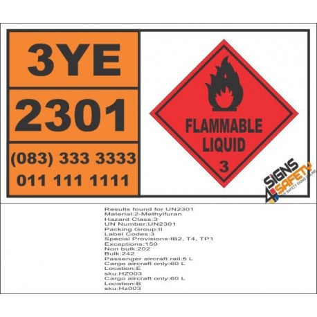 UN2301 2-Methylfuran, Flammable Liquid (3), Hazchem Placard