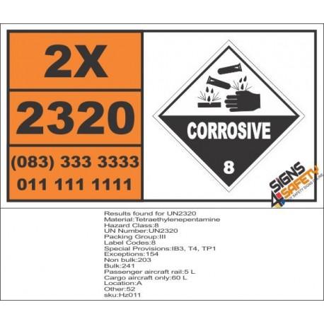 UN2320 Tetraethylenepentamine, Corrosive (8), Hazchem Placard