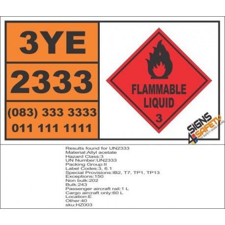 UN2333 Allyl acetate, Flammable Liquid (3), Hazchem Placard