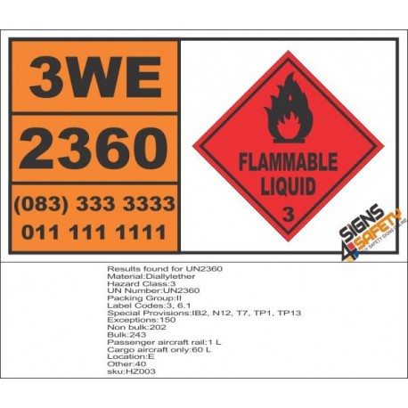UN2360 Diallylether, Flammable Liquid (3), Hazchem Placard