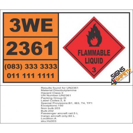 UN2361 Diisobutylamine, Flammable Liquid (3), Hazchem Placard