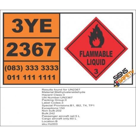 UN2367 Methylvaleraldehyde, Flammable Liquid (3), Hazchem Placard