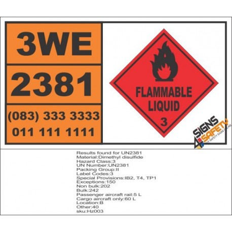 UN2381 Dimethyl disulfide, Flammable Liquid (3), Hazchem Placard