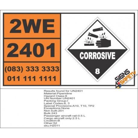 UN2401 Piperidine, Corrosive (8), Hazchem Placard