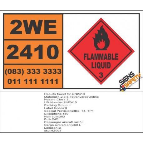 UN2410 1,2,3,6-Tetrahydropyridine, Flammable Liquid (3), Hazchem Placard