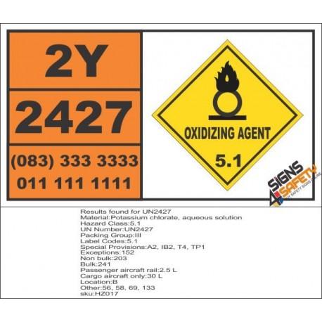 UN2427 Potassium chlorate, aqueous solution, Oxidizing Agent (5), Hazchem Placard