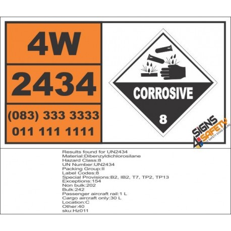 UN2434 Dibenzyldichlorosilane, Corrosive (8), Hazchem Placard
