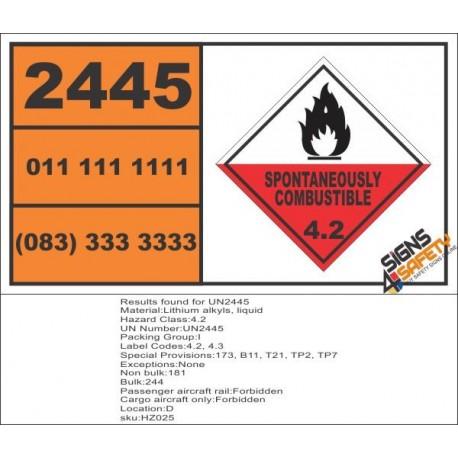 UN2445 Lithium alkyls, liquid, Spontaneous Combustible (4), Hazchem Placard