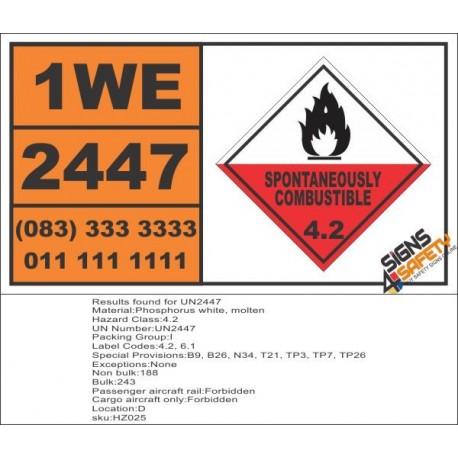 UN2447 Phosphorus white, molten, Spontaneous Combustible (4), Hazchem Placard