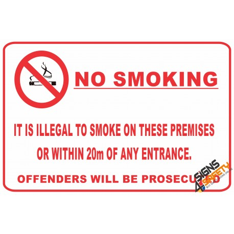 (NS24) No Smoking Within 20m Of Entrance Sign