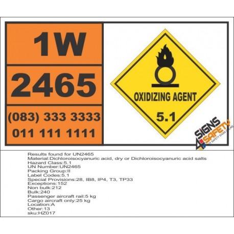 UN2465 Dichloroisocyanuric acid, dry or Dichloroisocyanuric acid salts, Oxidizing Agent (5), Hazchem Placard