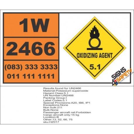 UN2466 Potassium superoxide, Oxidizing Agent (5), Hazchem Placard