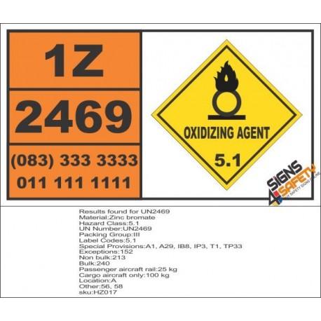 UN2469 Zinc bromate, Oxidizing Agent (5), Hazchem Placard