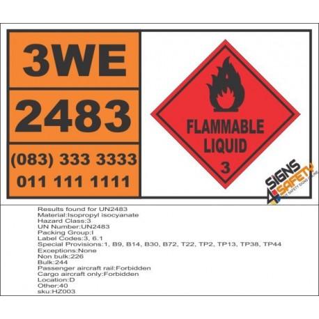 UN2483 Isopropyl isocyanate, Flammable Liquid (3), Hazchem Placard