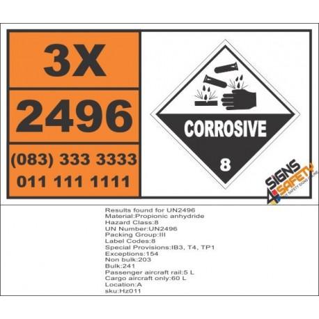 UN2496 Propionic anhydride, Corrosive (8), Hazchem Placard