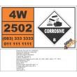 UN2502 Valeryl chloride, Corrosive (8), Hazchem Placard