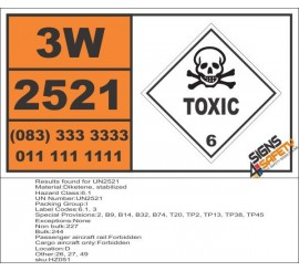 UN2521 Diketene, stabilized, Toxic (6), Hazchem Placard