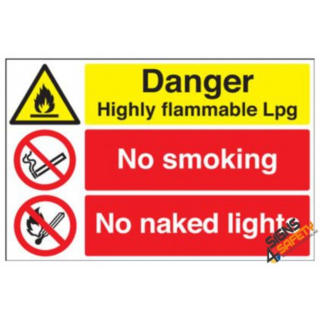 (NS37) No Smoking / No Naked Flame LP Gas Sign