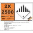 UN2590 White asbestos (chrysotile, actinolite, anthophyllite, tremolite) , Other (9), Hazchem Placard