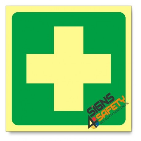 First Aid Equipment, Photoluminescent, (Glow in the Dark) Sign