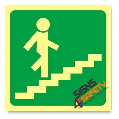 Stairs Going Up Right, Photoluminescent, (Glow in the Dark) Sign