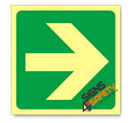 General Direction - Arrow Right, Photoluminescent, (Glow in the Dark) Sign