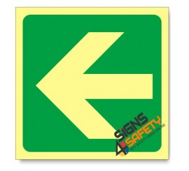 General Direction - Arrow Left, Photoluminescent, (Glow in the Dark) Sign